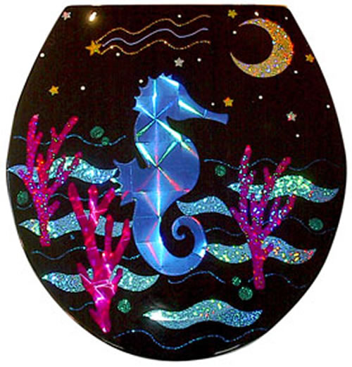 Seahorse Black Toilet Seat Elongated Free Shipping